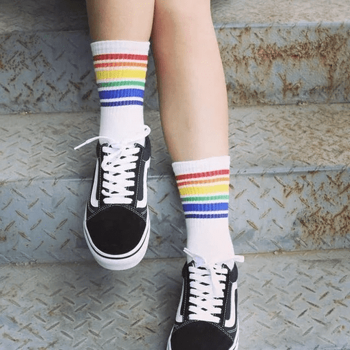 Women's Rainbow Stripe Socks