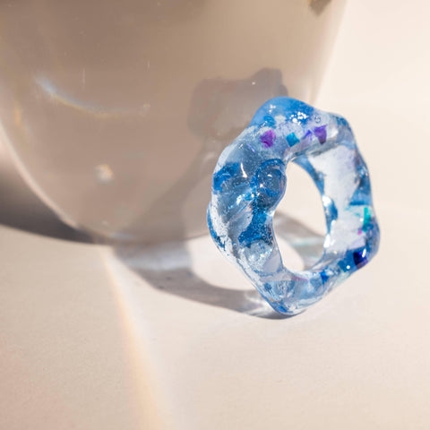 Chunky Blue Resin Ring