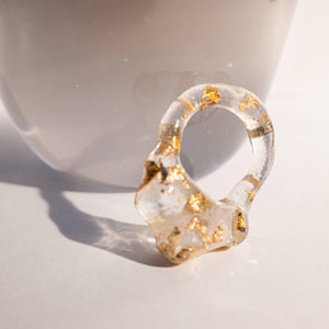 Clear and Gold Resin Ring