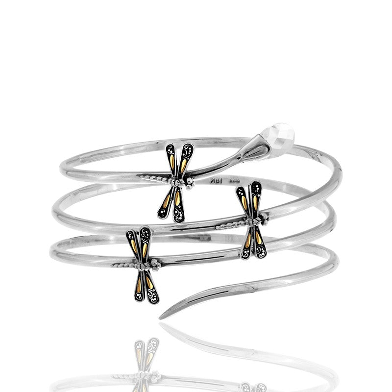 Sweet Dragonfly Teardrop Bangle embellished by 18K Gold Accents on 4 strips of Dragonflys Wings