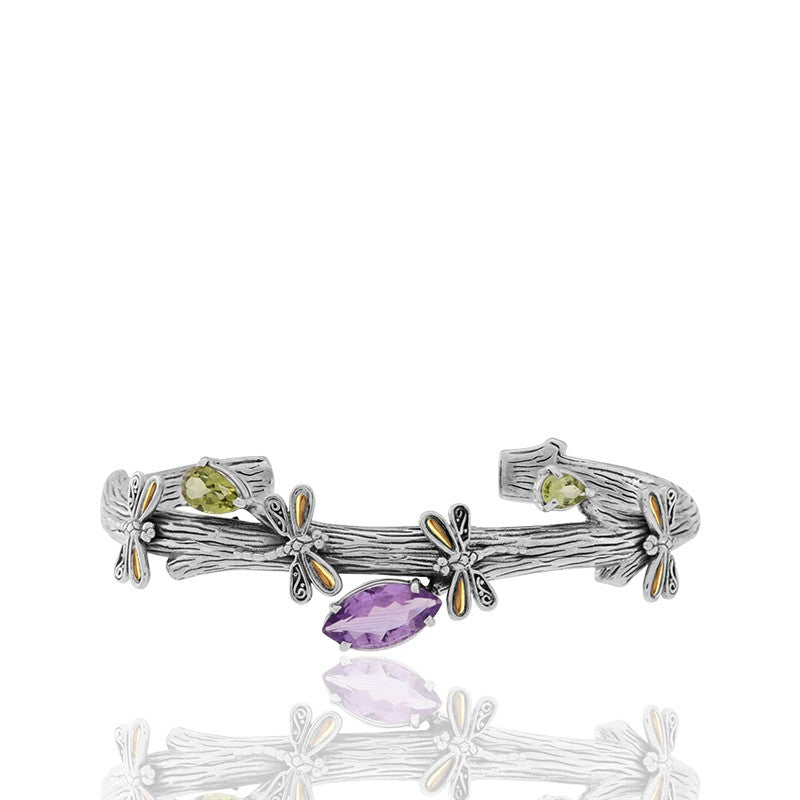 Sweet Dragonfly Root Tree Cuff embellished by 18K Gold on 2 strips of Dragonflys Wings and Amethyst  and Peridot