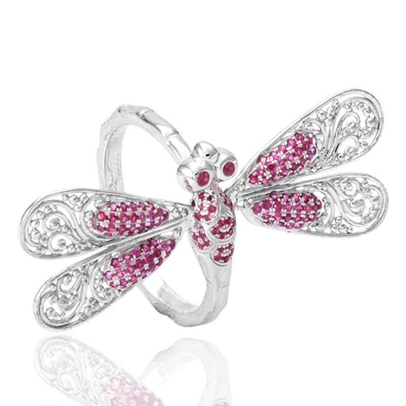 Sweet Dragonfly Signature Ring embellished by Ruby