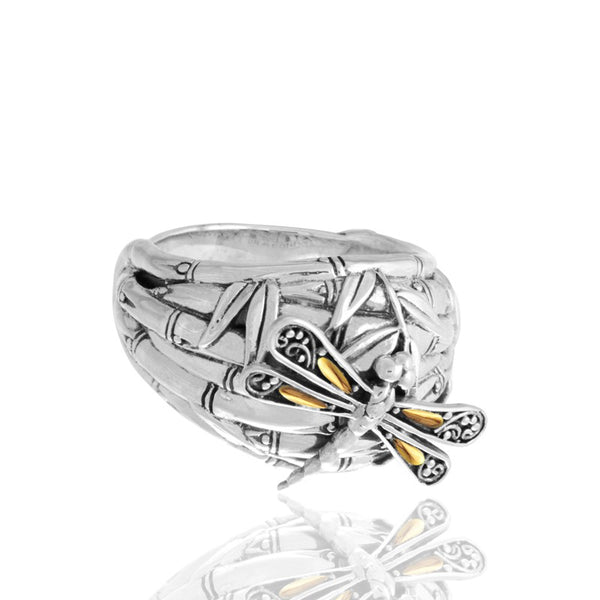 Sweet Dragonfly Bamboo Bali Dome Ring Sterling Silver with 18K Gold Accents