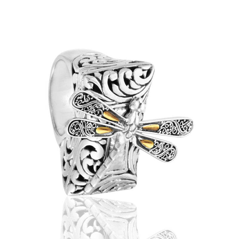 Sweet Dragonfly Hammered Ring embellished by 18K Gold Accents on 4 strips of Dragonflys Wings