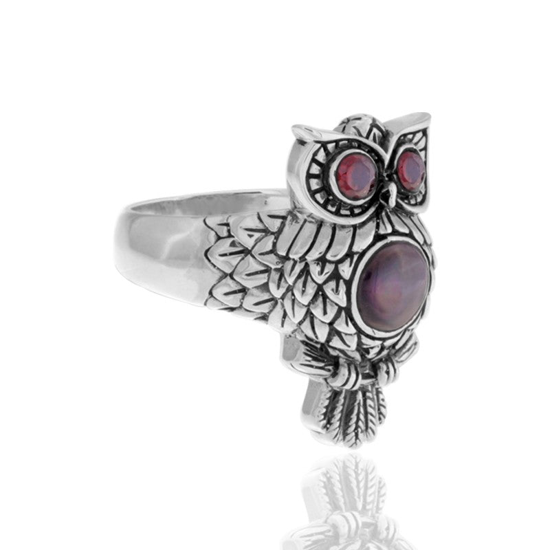 Night Owl Signature Ring embellished by Black Shell on Owls body and Garnet on Owls eyes