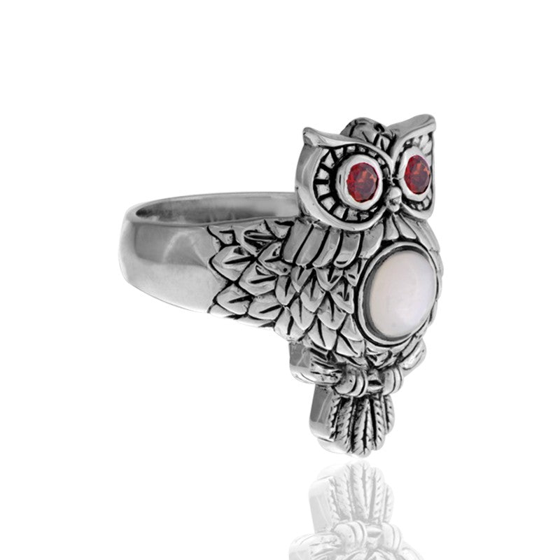 Night Owl Signature Ring embellished by White Shell on Owls body and Garnet on Owls eyes