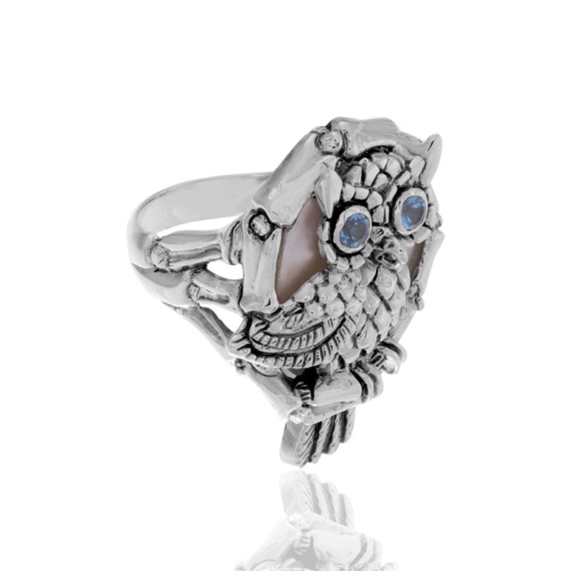 Night Owl Signature Ring embellished by White Shell on Owls body and Blue Topaz on Owls eyes