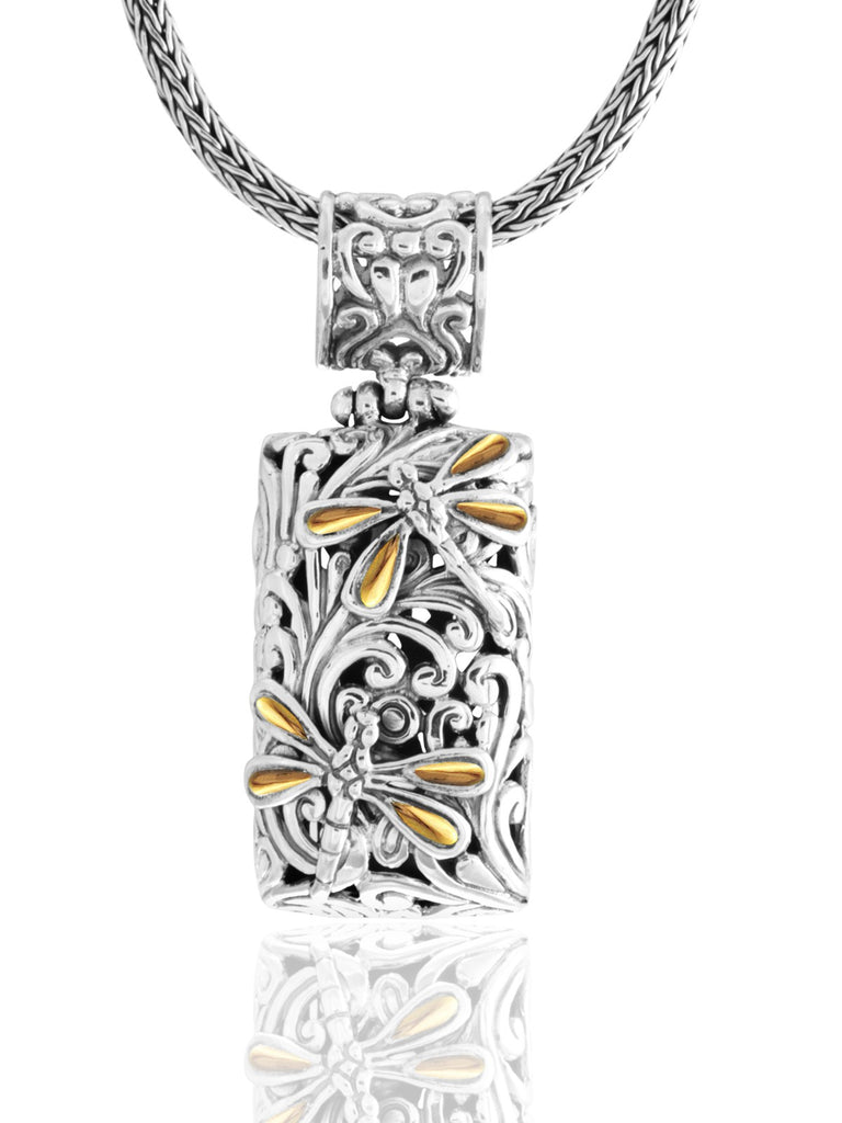 Sweet Dragonfly Classic Rectangle Necklace embellished by 18K Gold Accents on 4 strips of Dragonflys Wings