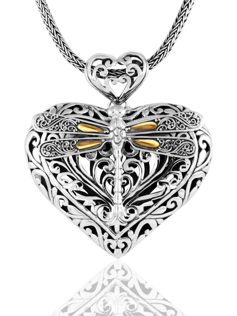 Sweet Dragonfly Love Potion Bali Pendant Necklace Sterling Silver and 18K Gold Accents