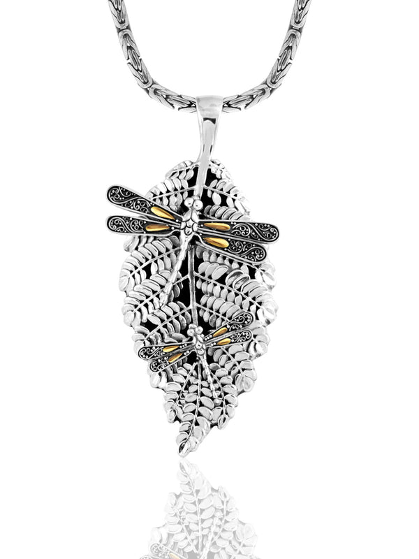 Sweet Dragonfly Green Earth Necklace embellished by 18K Gold Accents on 4 strips of Dragonflys Wings