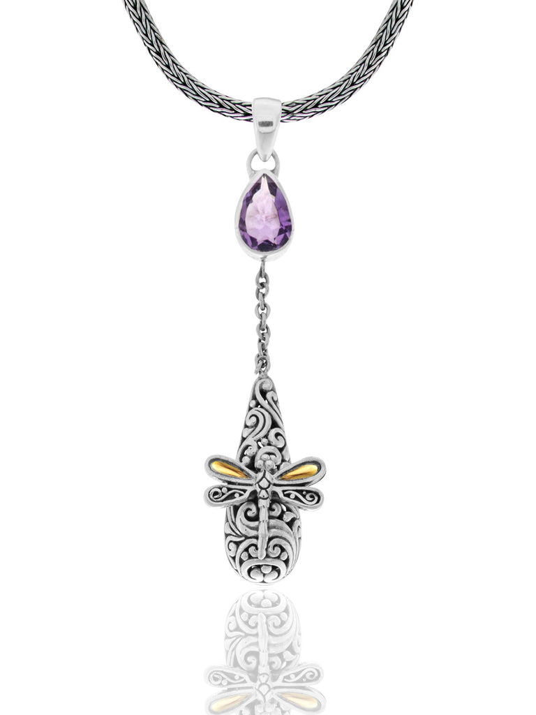 Sweet Dragonfly Classic Necklace embellished by 18K Gold Accents on 2 strips of Dragonflys Wings and Amethyst