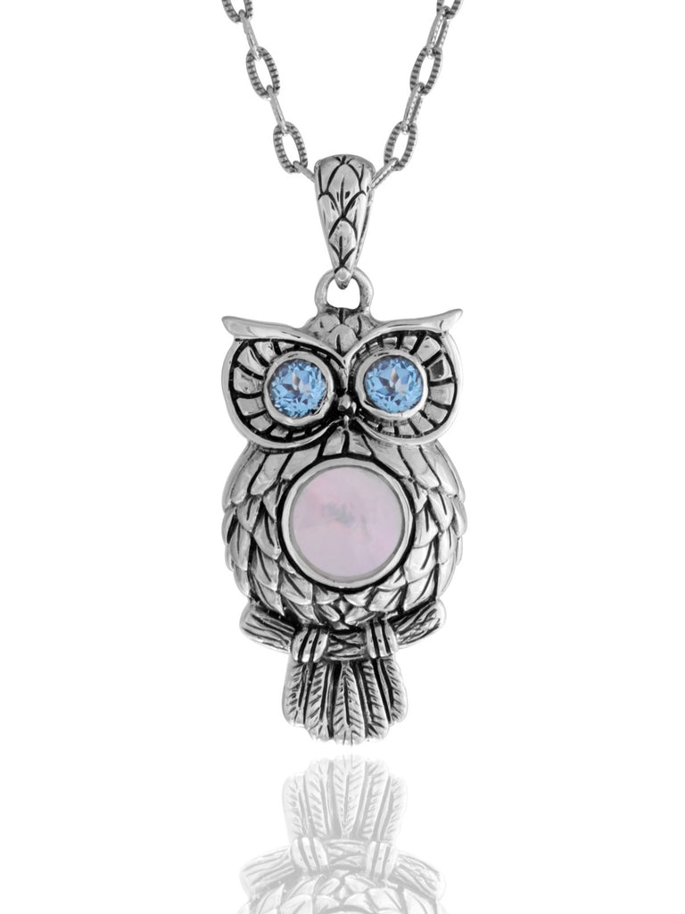 Night Owl Signature Necklace embellished by White Shell on Owls body and Blue Topaz on Owls eyes
