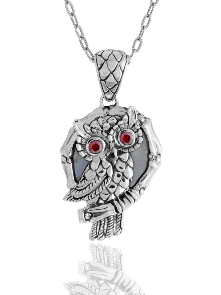 Night Owl Signature Necklace embellished by Black Shell on Owls body and Garnet on Owls eyes