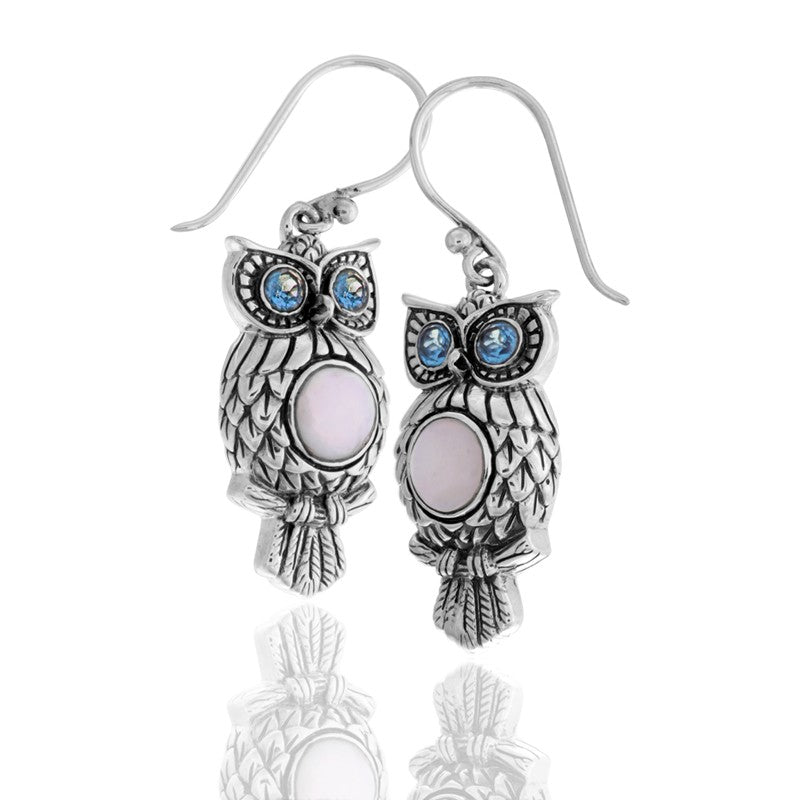 Night Owl Signature Earrings embellished by White Shell on Owls body and Blue Topaz on Owls eyes