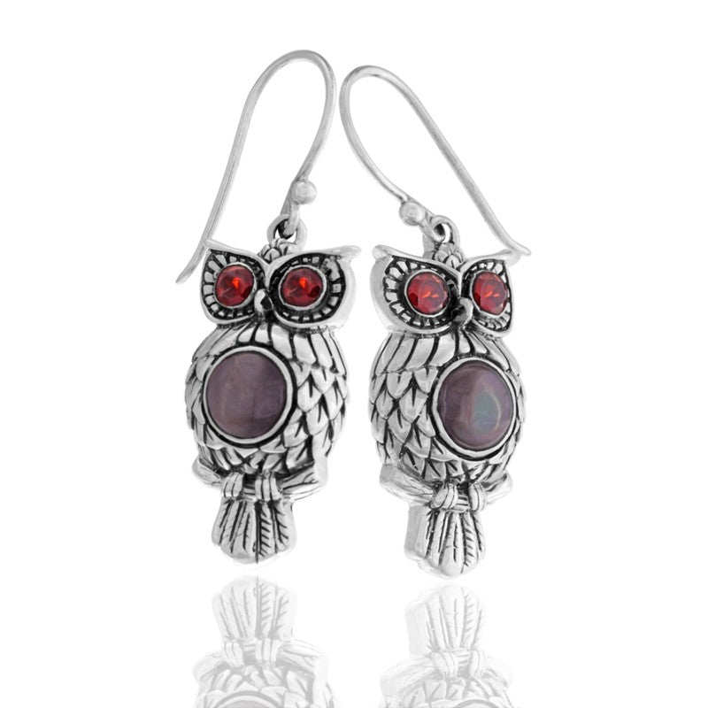 Night Owl Signature Earrings embellished by Black Shell on Owls body and Garnet on Owls eyes