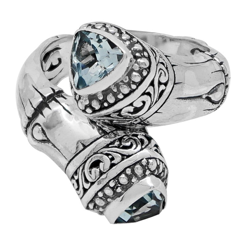 Bamboo Classic Sterling Silver Ring embellished by Blue Topaz