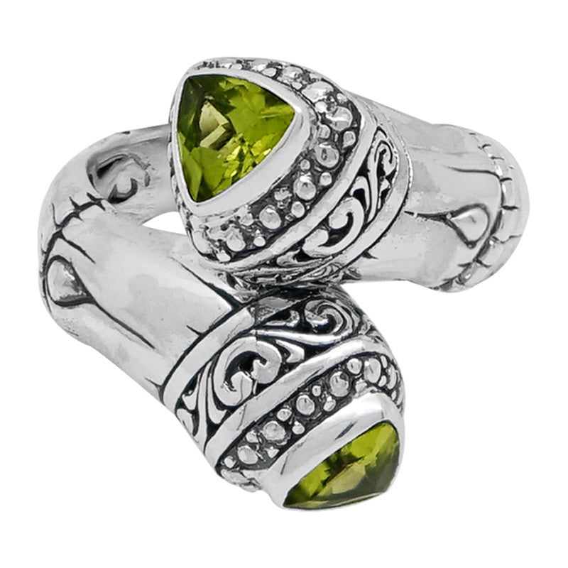 Bamboo Classic Sterling Silver Ring embellished by Peridot