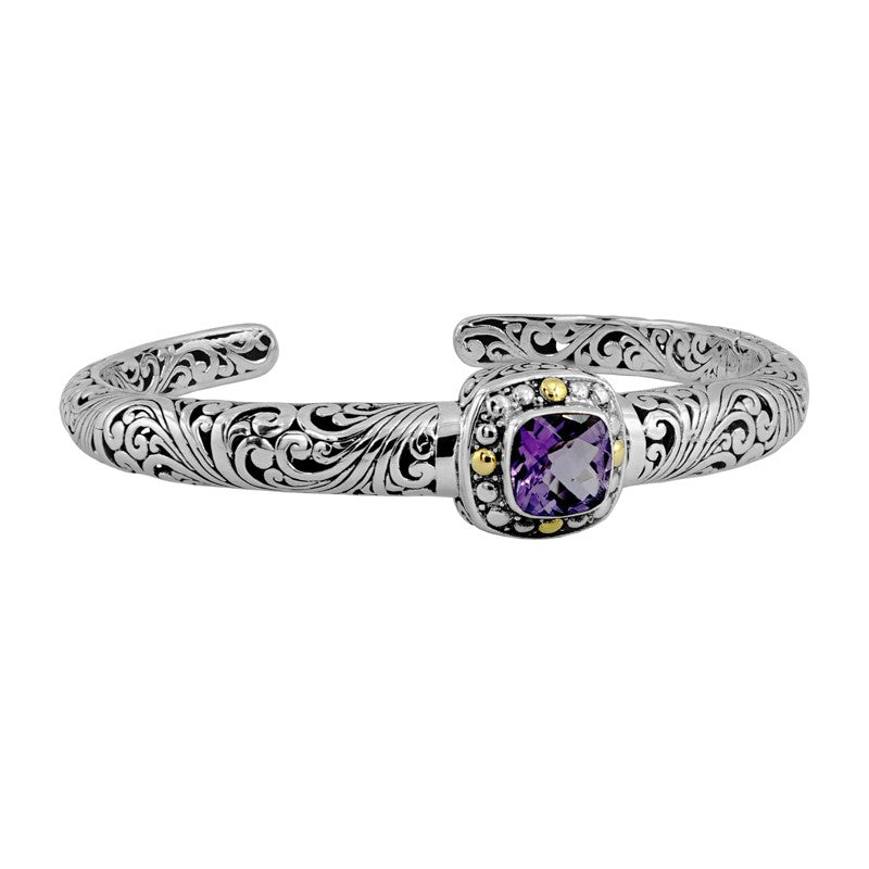 Bali Heritage Classic Sterling Silver Cuff Bracelet embellished by 18K Gold and Amethyst