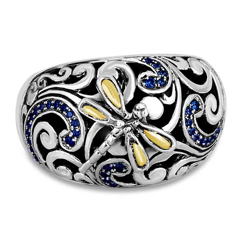 Sweet Dragonfly Signature Sterling Silver Ring embellished by 18K Gold Accents and Blue-Sapphire-Colored Cubic Zirconia