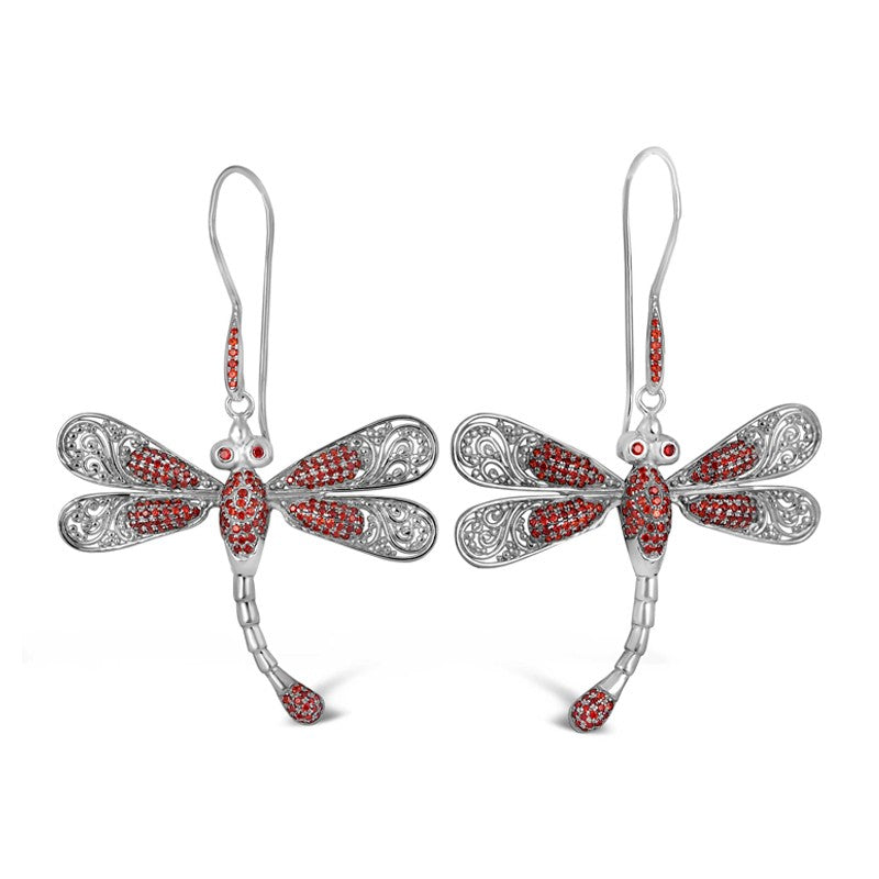 Sweet Dragonfly Signature Sterling Silver Earrings embellished by Red Cubic Zirconia