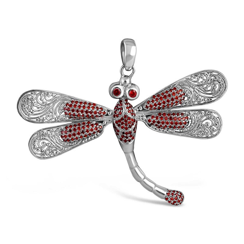 Sweet Dragonfly Signature Sterling Silver Pendant embellished by Red Cubic Zirconia