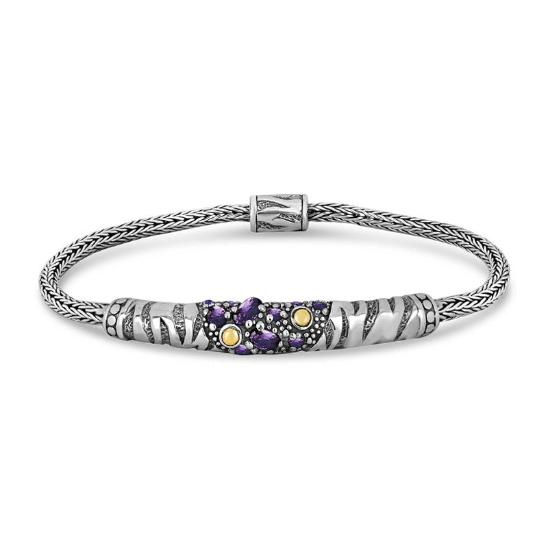 Tiger Classic Sterling Silver Bracelet with Dragon Bone Round Chain embellished by 18K Gold Accents and Purple Cubic Zirconia