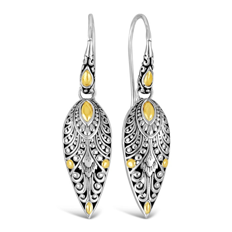 Bali Filigree Sterling Silver Angel Wings Drop Dangle Earrings embellished by 18K Gold Accents
