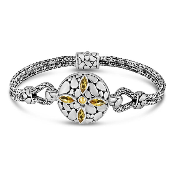 Bali Heritage Rocky Classic Sterling Silver Bracelet with Double Dragon Bone Chain embellished by 18K Gold Accents and Citrine