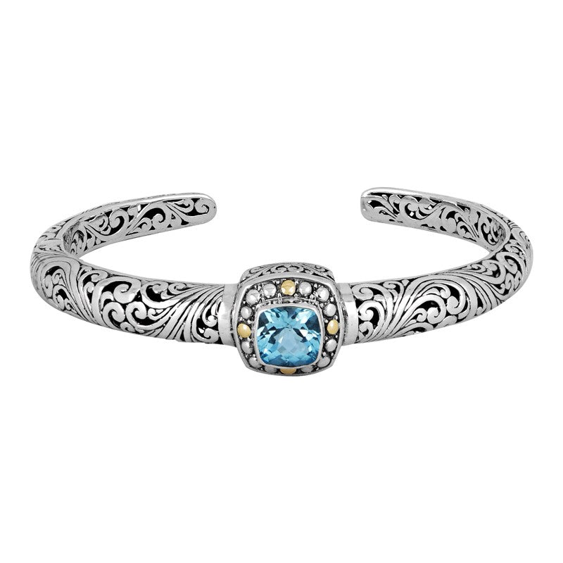 Bali Heritage Classic Sterling Silver Cuff Bracelet embellished by 18K Gold Accents and Blue Topaz
