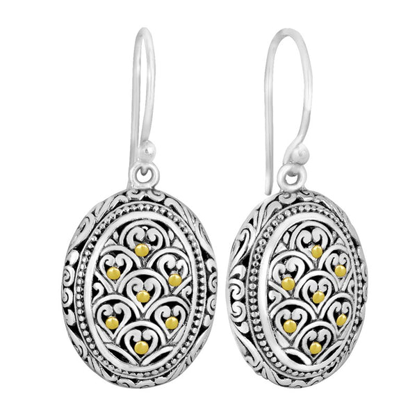 Bali Filigree Dragon Skin Signature Sterling Silver Earrings embellished by 18K Gold