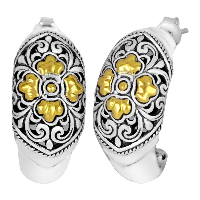 Bali Filigree Classic Sterling Silver Stud Earrings embellished by 18K Gold