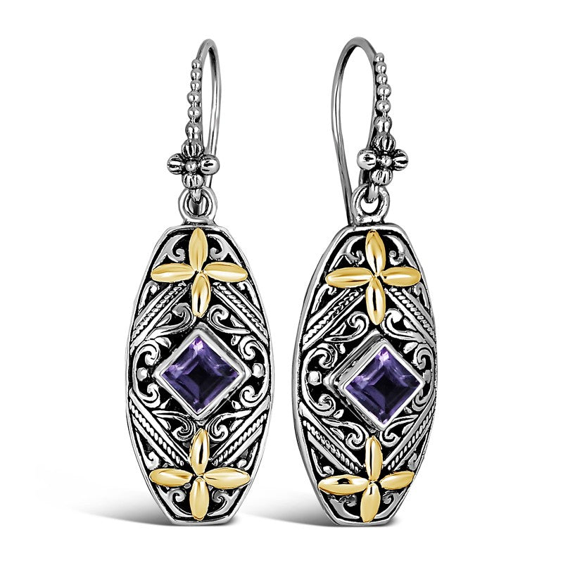 Bali Heritage Classic Sterling Silver Earrings embellished by 18K Gold and Amethyst