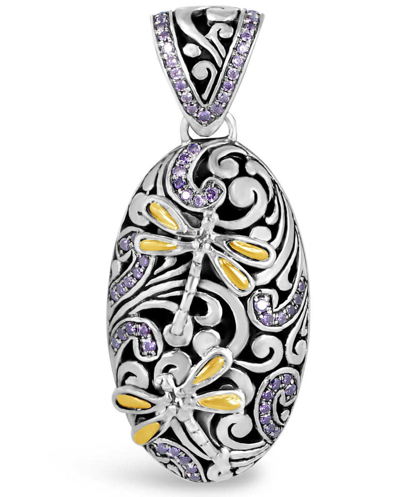 Sweet Dragonfly Signature Sterling Silver Pendant embellished by 18K Gold Accents and Purple Cubic Zirconia