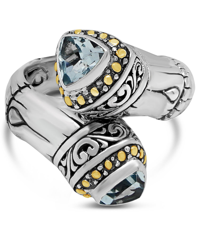 Bamboo Classic Sterling Silver Ring embellished by 18K Gold and Blue Topaz
