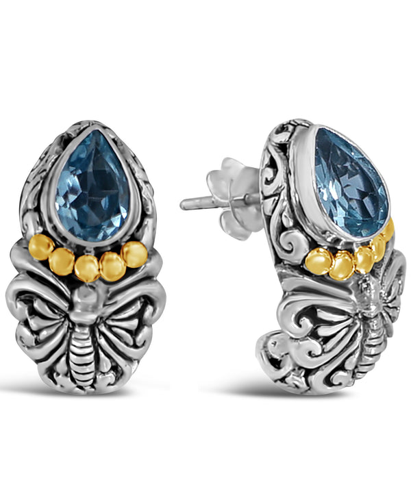 Bali Heritage Classic Sterling Silver Earrings Stud embellished by 18K Gold and Blue Topaz