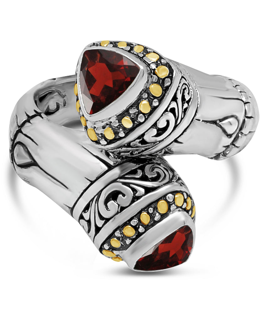 Bamboo Classic Sterling Silver Ring embellished by 18K Gold and Garnet