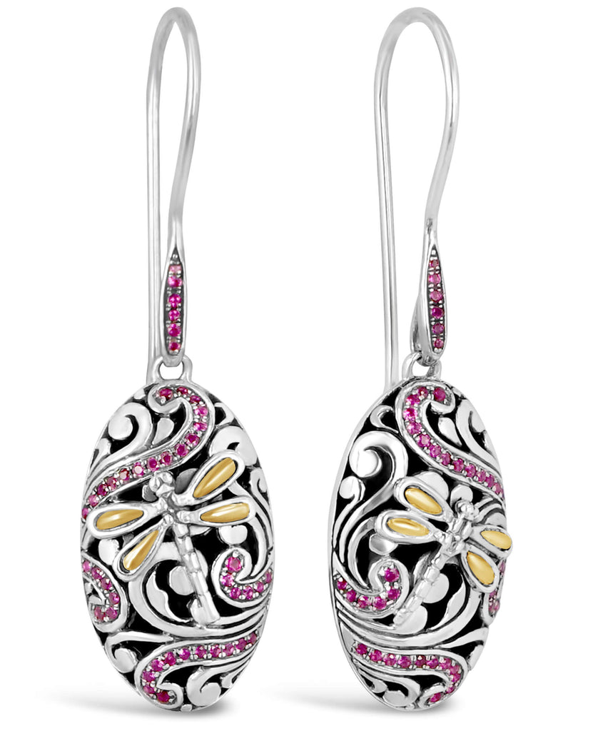 Sweet Dragonfly Signature Sterling Silver Earrings embellished by 18K Gold Accents and Pink Cubic Zirconia