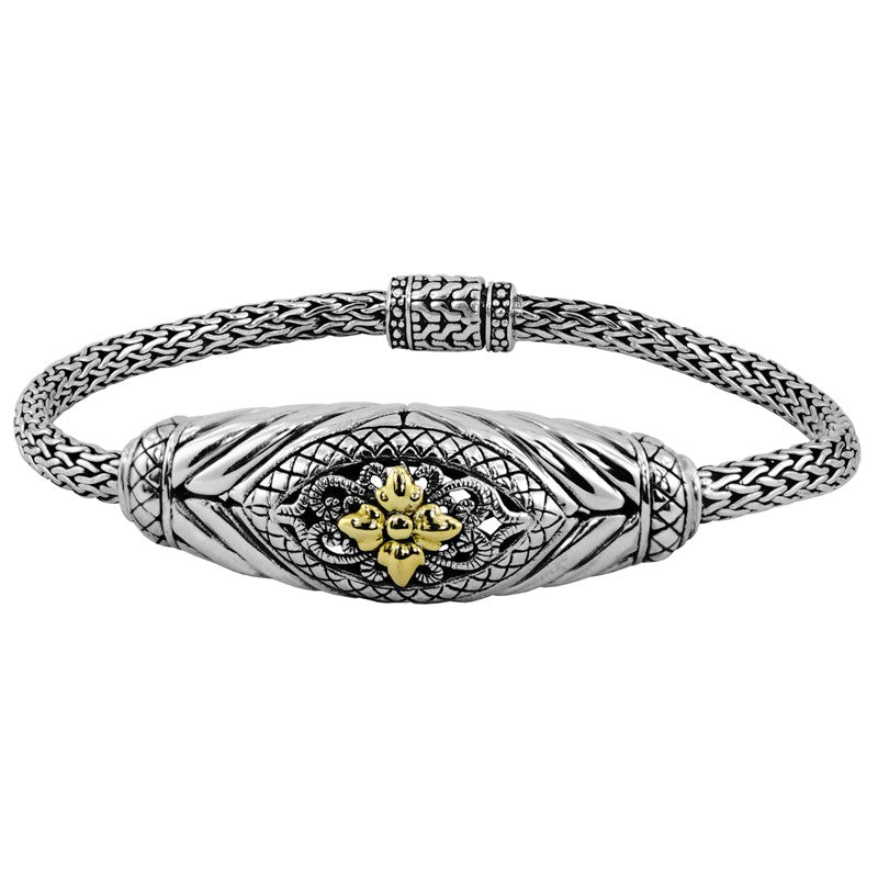 Bali Filigree Classic Sterling Silver Chain Bracelet with Dragon Bone Chain embellished by 18K Gold