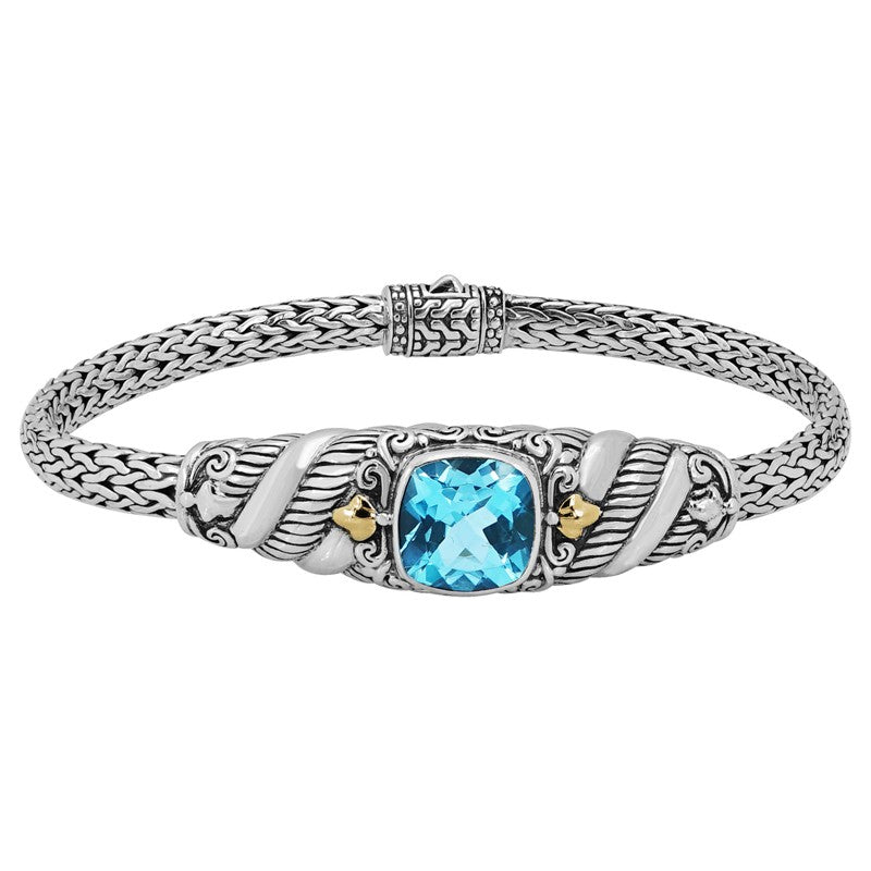 Bali Heritage Classic Sterling Silver with Dragon Bone Chain Bracelet embellished by 18K Gold and Blue Topaz