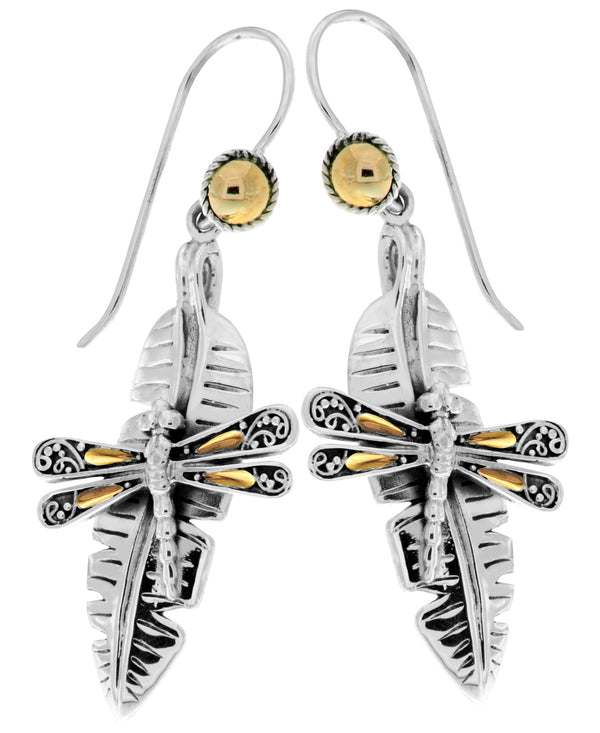 Bali Filigree Sweet Dragonfly Banana Leaf Drop Earrings embellished by 18K Gold Accents on 4 strips of Dragonflys Wings