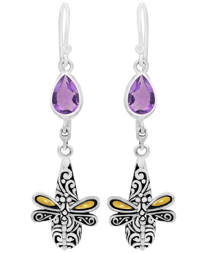 Sweet Dragonfly Bali Filigree Drop Dangle Earrings in Sterling Silver and 18K Gold with Amethyst Topaz Garnet Citrine