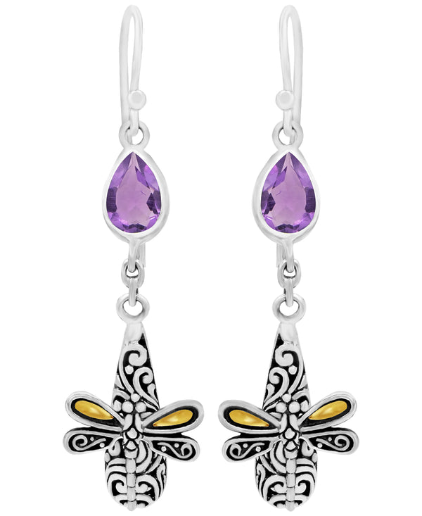 Sweet Dragonfly Bali Filigree Drop Dangle Earrings in Sterling Silver and 18K Gold with Amethyst - Blue Topaz - Garnet - Citrine