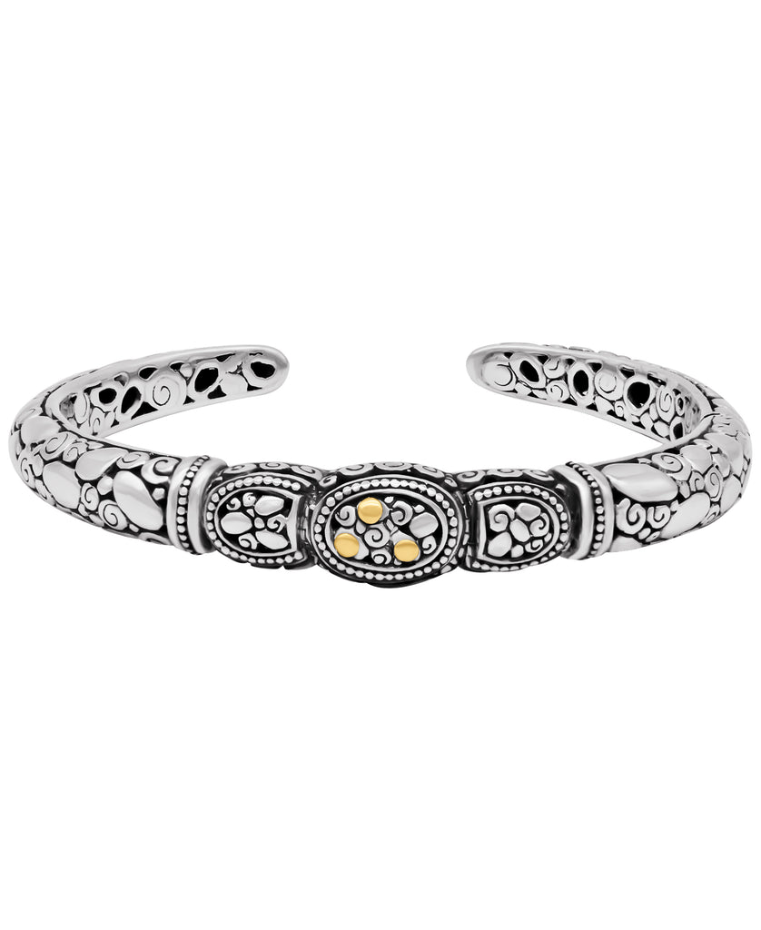 Bali Filigree Rocky Cuff Bracelet in Sterling Silver with 18K Gold Accents