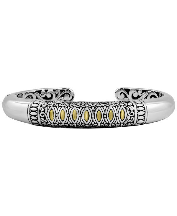 Bali Filigree Cuff Bracelet in Sterling Silver and 18K Gold