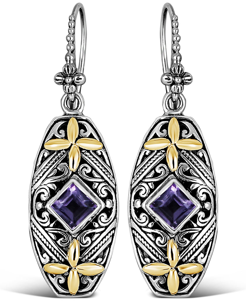 Bali Filigree Drop Earrings in Sterling Silver and 18K Gold with Amethyst - Blue Topaz - Swiss Blue Topaz - Pink Topaz - White Topaz - Black Spinel - Garnet - Peridot - Citrine