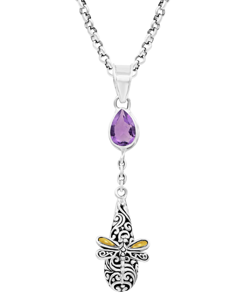 Sweet Dragonfly Bali Filigree Drop Dangle Pendant Necklace Rolo Chain in Sterling Silver and 18K Gold with Amethyst - Blue Topaz - Garnet - Citrine
