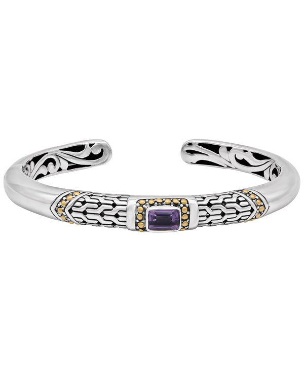 Bali Filigree Hinge Cuff Bracelet in Sterling Silver and 18K Gold with Amethyst - Blue Topaz - Swiss Blue Topaz - Pink Topaz - White Topaz - Black Spinel - Garnet - Citrine - Peridot