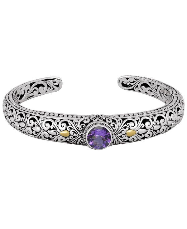 Bali Filigree Round Gemstone Cuff Bracelet in Sterling Silver with Solid 18K Gold Accents