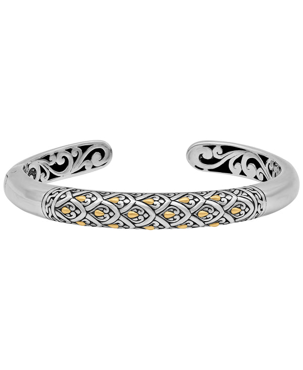 Bali Filigree Dragon Skin Cuff Bracelet in Sterling Silver and 18K Gold