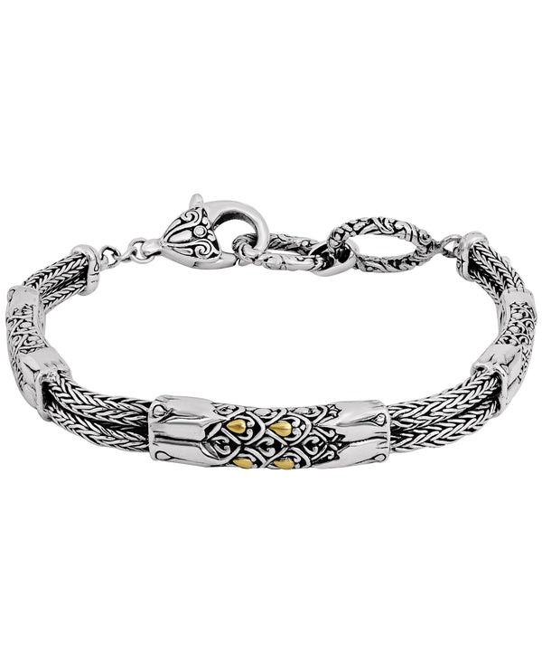 Bali Filigree Dragon Bone Chain Bracelet in Sterling Silver and 18K Gold